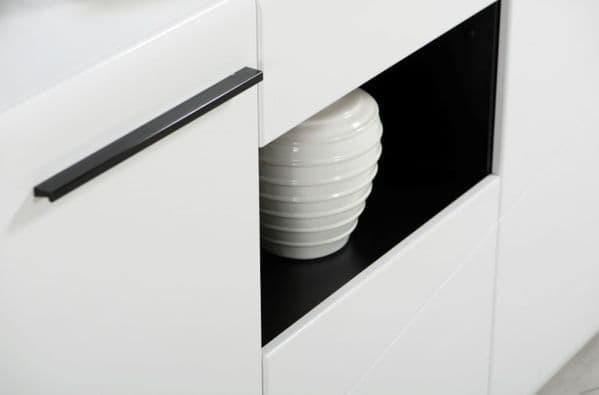 Trinity Large Tall Sideboard in White Gloss and Black With Drawers and Cupboards